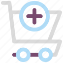 add, cart, plus, shopping, shopping cart icon icon