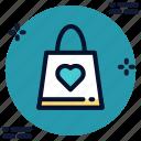 bag, favorite, heart, shopping icon icon
