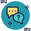 answer, bubble, comment, faq, question, support, talk icon icon