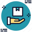 box, delivery, hand, share icon icon