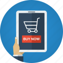 app, buy, buy now, e-commerce, ecommerce, hand, ipad, market, online shopping, order, order now, purchase, shop, shopping, shopping app, store, trolley, web icon