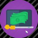 cash, coins, internet marketing, laptop, macbook, make money, marketing, money, notes, online money, sell, shopping icon