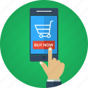 app, buy, buy now, e-commerce, ecommerce, hand, mobile, mobile store, online shopping, order, purchase, shop, shopping, smartphone, store, web store icon
