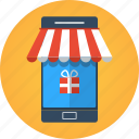 app, app store, buy, e-commerce, ecommerce, gift, market, mobile, mobile store, online shopping, order, present, purchase, shop, shopping, smartphone, store, web icon