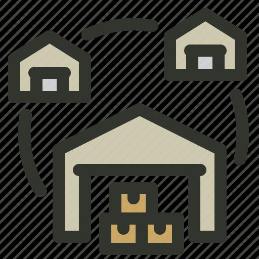 logistics, network, shipping, warehouse icon