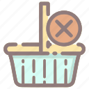 basket, cancel, delete, order, remove, shopping, shopping basket icon
