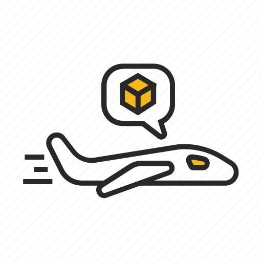 box, cargo, delivery, package, plane, shipping icon