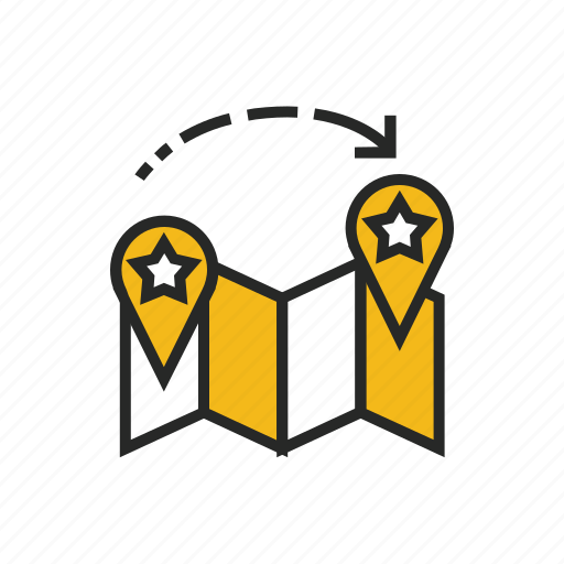 delivery, destination, location, map, pin, point, star icon