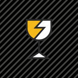 broke, fragile, glass icon