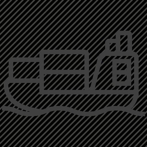 boat, parcel, sea, ship, transport, transportation, vessel icon
