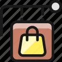 shop, sign, bag