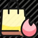 shopping, bag, fire