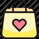 shopping, bag, heart