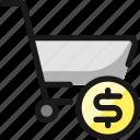 shopping, cart, cash