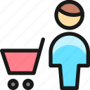 shopping, cart, man