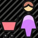 shopping, cart, woman