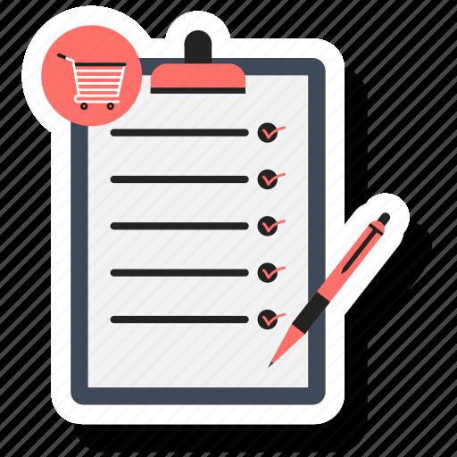 checklist, list, notepad, paper, pen icon