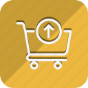 cart, finance, money, shop, shopping, trolly, up arrow icon