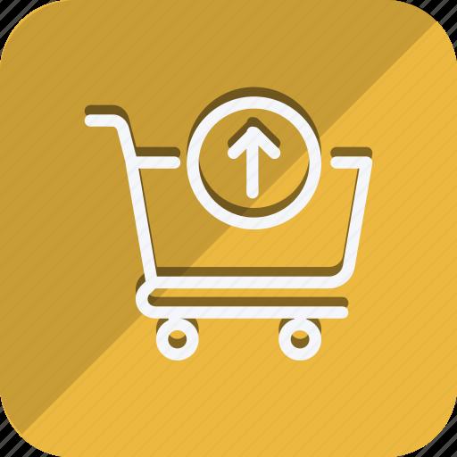 cart, finance, money, shop, shopping, trolly, up arrow icon