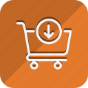 cart, down arrow, finance, money, shop, shopping, trolly icon