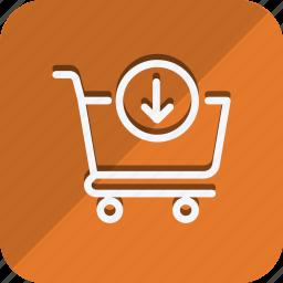 cart, down arrow, finance, money, shop, shopping, trolly icon