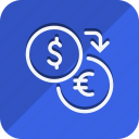 currency, dollar, euro, finance, money, shop, shopping icon