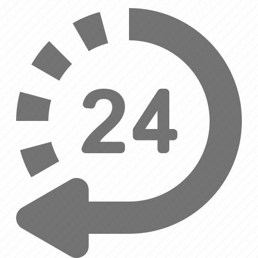 24/7, arrow, customer support, hour, non-stop, return, service icon