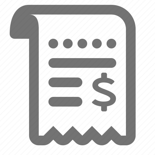 bill, commerce, invoice, purchase, receipt, shopping icon