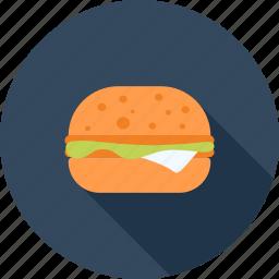breakfast, burger, eating, fast, food, hamburger, restaurant icon