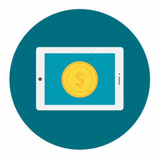 coin, internet, mobile, online, payment, shopping, tablet icon