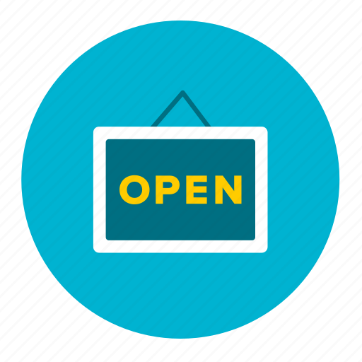 hours, label, open, opening, shopping, sign icon