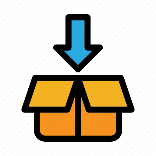 box, cardboard, download, packaging, shipping and delivery icon