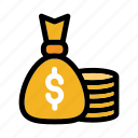 bank, coin, currency, dollar symbol, money bag icon