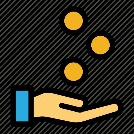 claim, financial, hand gesture, money, refund icon
