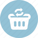 finance, marketing, refresh cart, sale, shopping cart, shopping market, update cart icon