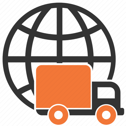delivery, shipping, truck, world, worldwide icon