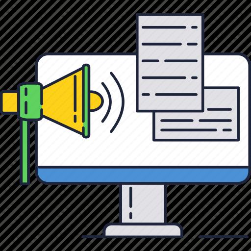 ad, advertisement, internet, loudspeaker, online icon