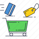 buy, card, cart, credit, money, payment, shopping icon