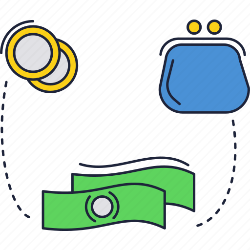 banknote, coins, dollar, money, wallet icon