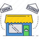 building, close, hours, open, shopping, store icon