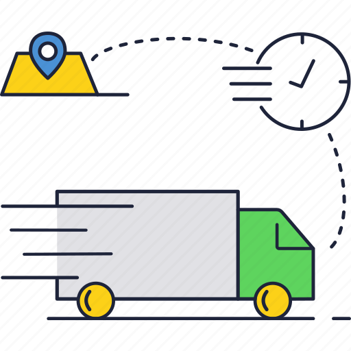delivery, map, shopping, time, truck icon