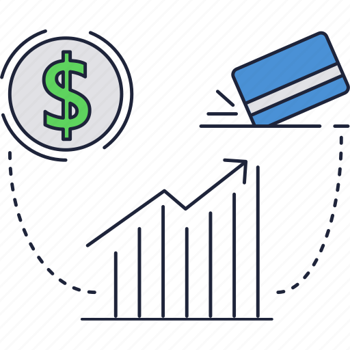 dollar, exchange, growth, rate, rise icon