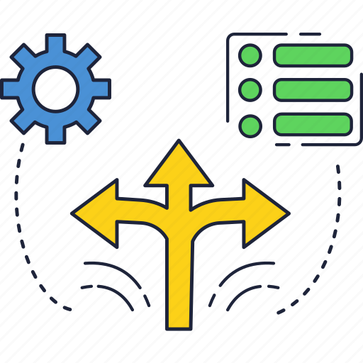 arrow, check, direction, gear, list icon
