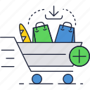 basket, cart, full, grocery, shopping icon