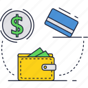 card, credit, dollar, money, shopping, wallet icon