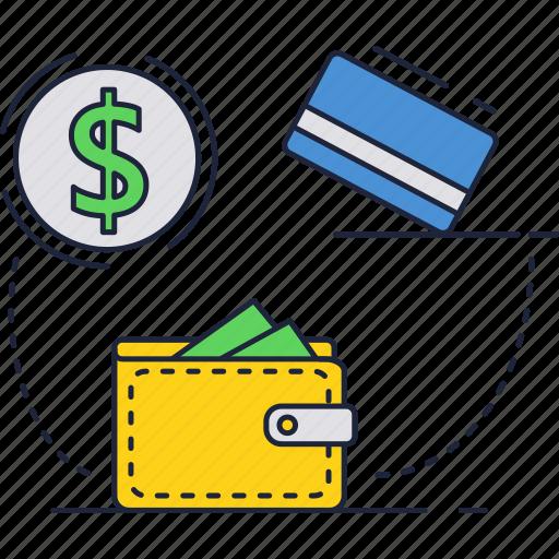 card, credit, dollar, money, shopping, wallet icon