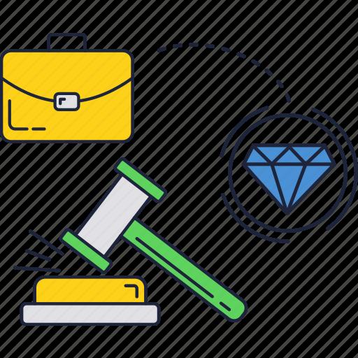 auction, diamond, jewelry, sold icon