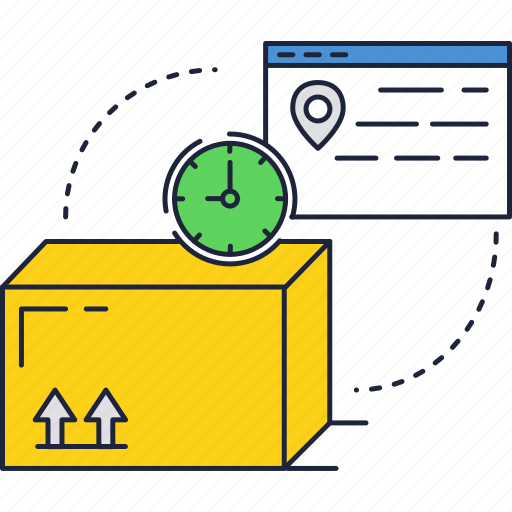 box, carton, delivery, order, package, time icon