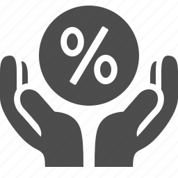 discount, hands, percentage, shopping, sign icon