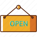 box, market, open, shop, sign icon